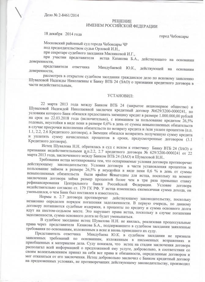 Исковое заявление М.О.А. о признании кредитного договора